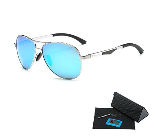 Shushu Jacob Men's Polarized Sunglasses UV400 Protection Vintage Aviator Blue Lens Silver - Blue Tint Sunglasses