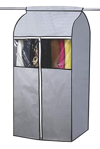 SLEEPING LAMB Garment Bag Organizer Storage with Clear PVC Windows Garment Rack Cover Well-Sealed Hanging Closet Cover for Suits Coats Jackets, Grey (Not Including Frame) (Garment Bag Closet)