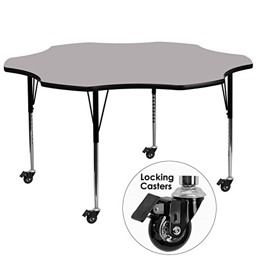 Flash Furniture Mobile 60'' Flower Grey Thermal Laminate Activity Table - Standard Height Adjustable Legs (Dropship Flowers)
