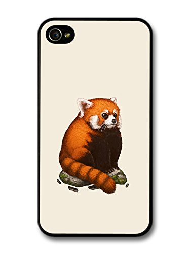 Red Panda Sitting on a Rock Cool Cute Funny Design case for iPhone 4 4S