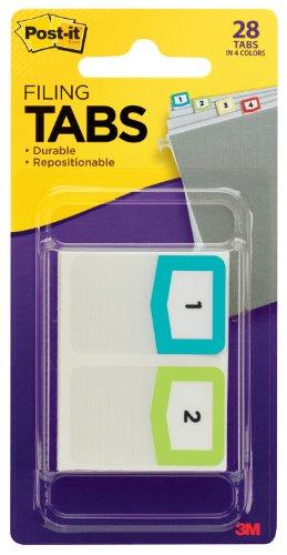 Post-it Tabs, Pre-Printed Numbers, 1-Inch, Assorted Colors, 24-Tabs/Pack plus 4 Blank Tabs