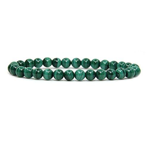 "Natural AA Grade Malachite Gemstone 6mm Round Beads Stretch Bracelet 7"" Unisex"