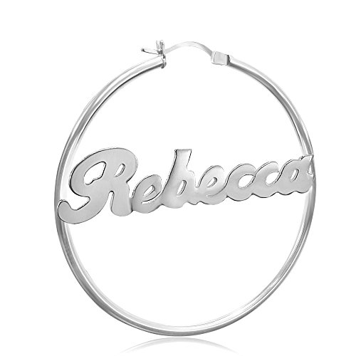 Sterling Silver Name Hoop Earrings 2 inch, Personalize it with any name!