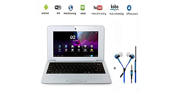 G-Anica® Netbook - Ordenador portátil ultraligero con Android 4.4, pantalla de 10,2 pulgadas con HDMI, wifi, Ethernet, 1,5 GHz, 512 MB y 4 GB; ...