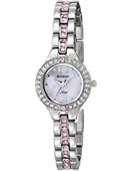 Armitron Womens 75/5205PMSV Pink Swarovski Crystal Accented Silver-Tone Bracelet Watch