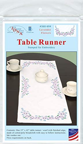JACK DEMPSEY Stamped Embroidery Dresser Scarf Table Runner LAVENDER FLOWERS