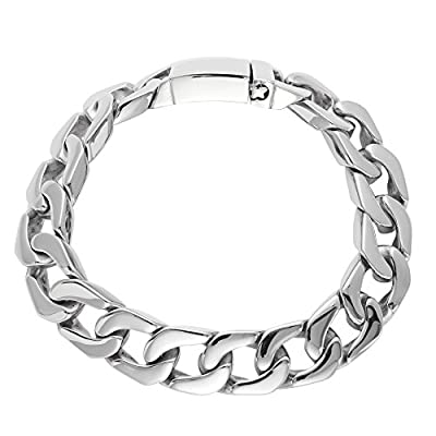 81stgeneration Men's Women's Stainless Steel 15 mm Polished Heavy Curb Chain Bracelet, 23.5 cm