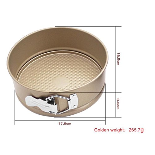 Round live bottom belt lock cake mould 6 inch thick non-stick cheese baking mould, Carbon Steel Nonstick Cheesecake Baking Mold (Gold(6 inches (thickening)))