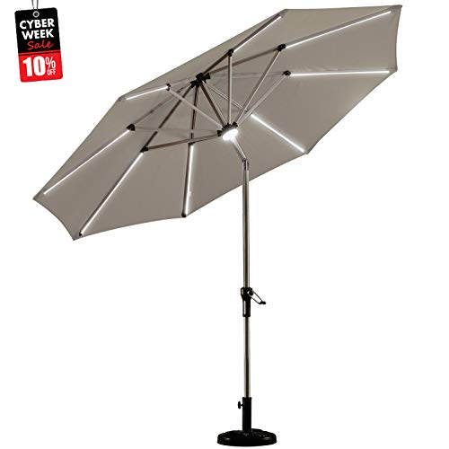 PURPLE LEAF 9 Feet Solar Powered LED Lighted Patio Umbrella with Push Button Tilt and Crank Outdoor Market Umbrella Garden Umbrella, Khaki (Patio Led Umbrella)