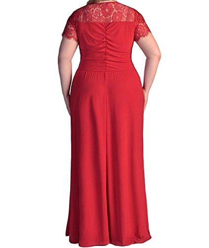 Robe De Soirée En Dentelle De Femmes, Plus Duraplast Robe Maxi Taille De Tronçon Us16w Rouge