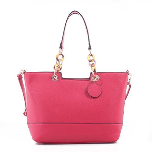 Lubanah Elegant Designer Inspired Faux Leather Tote Shoulder Handbag - Red