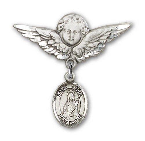 Icecarats Créatrice De Bijoux En Argent Sterling St. Lucie De Syracuse Charme Ange Broche De Badge 1 1/8 X 1 1/8