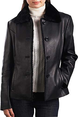 BGSD Women's Kare New Zealand Lambskin Leather Jacket - L Black ()