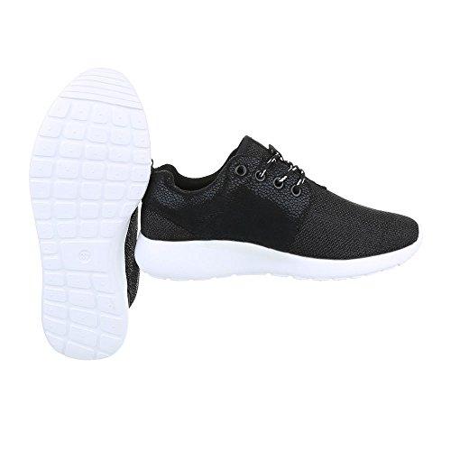 Ital-Design Low-Top Sneaker Damenschuhe Low-Top Sneakers Schnürsenkel Freizeitschuhe Schwarz B101B-SP
