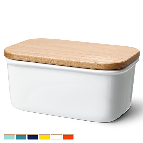 Sweese 3157 Large Butter Dish - Porcelain Keeper With Beech Wooden Lid, Perfect for 2 Sticks of butter, White - Butter Dish Butter