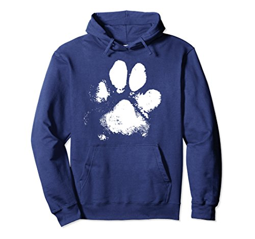 Unisex Muddy Messy Dog Paw Print Pullover Hoodie Medium Navy (Polyester Sweater Dog)