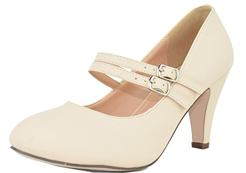 Chase & Chloe Women's Mary Jane Double Strap Buckle Pump (11 B(M) US, -