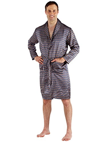 Harvey James Mens Nightwear Satin Printed Bath Robe With Pockets