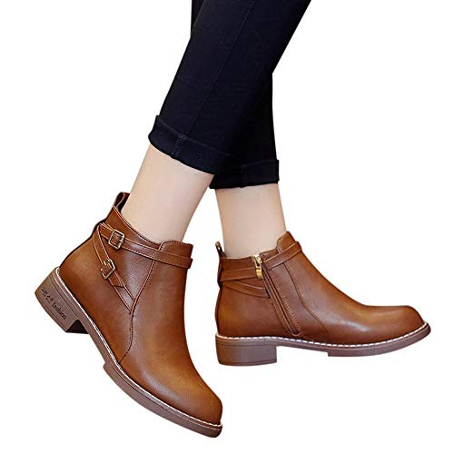 Gyoume Ankle Boots,Women Buckle Boots Shoes Flat Wedge Boots Side Zippers Boots Shoes