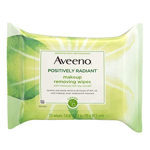 Aveeno Positively Radiant Oil-Free Makeup Removing Wipes to Help Even Skin Tone and Texture with Moisture-Rich Soy Extract, 25 ct. (Makeup Remover Aveeno)