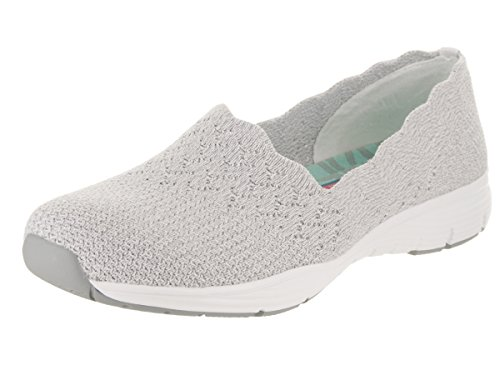 Skechers Women's Seager-Stat-Scalloped Collar, Engineered Skech-Knit Slip-On-Classic Fit Loafer Light Gray
