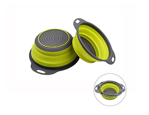 BOBZYXL Colander Collapsible Strainer Kitchen Space-Saver 2-Piece 8 and 9.5 inches (Light - Quart Collapsible 3