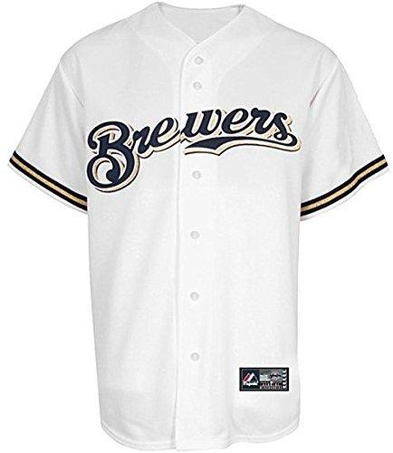 VF Milwaukee Brewers Mens Majestic White Replica Baseball Jersey Big & Tall Sizes (5XT) (Brewers Milwaukee White Baseball)