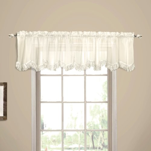 American Curtain and Home Georgette Window Treatment Valance, 56-Inch by 15-Inch, Ivory ()