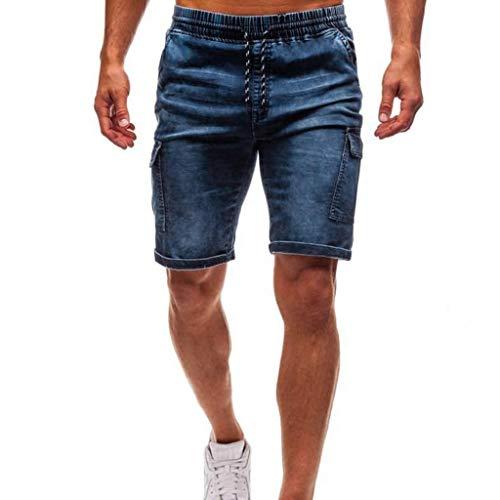 terbklf Men's Denim Shorts Summer Plus Size Casual Cargo Shorts with Stretch Waist Mens Drawstring Shorts with Pockets