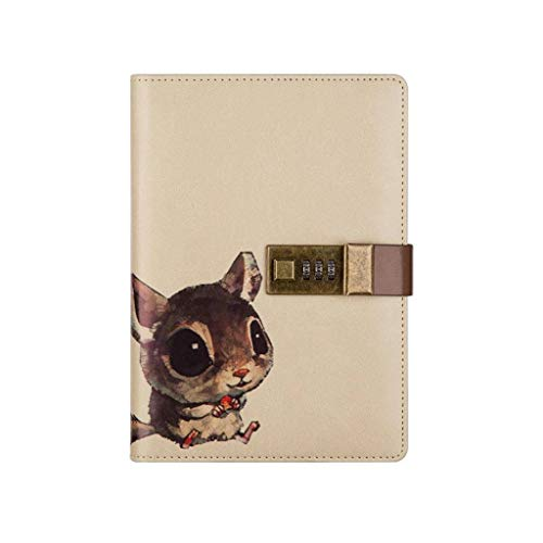 B6 Stationery Notebook Password with Lock Diary Book Creative Password Diary Handbook Notepad Locking Journal Diary, 112 Pages F