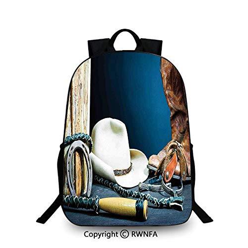 3D printing Customized school bag,Equestrian Backdrop with Antique Horseshoe Hat Cowboy Texas Style Backpack Cool Children Bookbag, Blue Brown and Beige