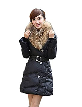 CBIN & HUA Xinyu nuevo abrigo fina cuello de pelo Coreano (negro), black