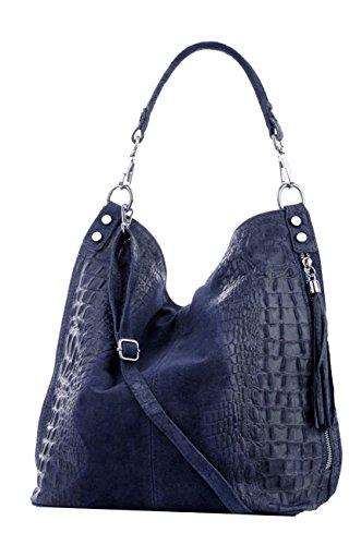 épaule Mod femme croco portés Italy tout fourre pour Foncé 2107 cuir sacs Sac Bleu facon aT4wBCqx
