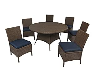 "Creative Living 10093537-RNV Bali 7pc 56"" Round Dining Set with Armless Chairs, Ribbed Navy"