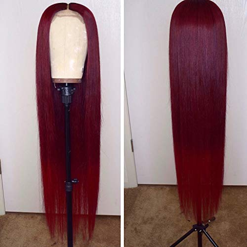 (13x6 Burgundy Silk Straight Human Hair Wigs Glueless Lace Front Hair 150% Density Pre Plucked Hair for Black Women by Estelle Wig (20inch, 13x6 lace front wig))