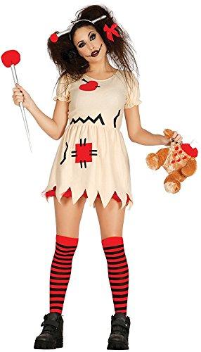 Ladies Sexy Voodoo Doll Halloween Fancy Dress Costume Outfit UK 12-14 16-18 (UK 16-18)]()