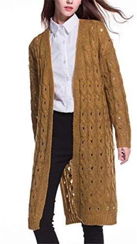 Monocromo Monocromo Maglia Lunga Cappotto Casual Lato Outwear Invernali Manica Donna Donna Donna Autunno Scavare Gelb Sciolto A Fessura Reeseiy Giovane Lunga Cardigan Giaccone Calda Chic Leggero Knit Moda OqUxzZWA