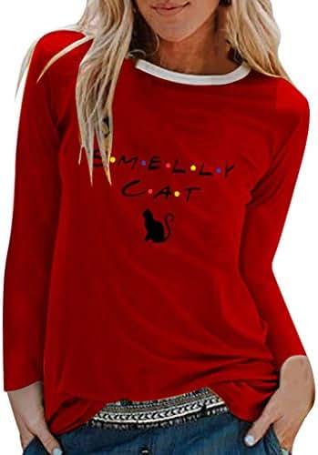 Lotus.Flower Womens Casual Cat Print Shirts O-Neck Long Sleeve Top Loose T-Shirt Blouse