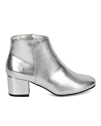 Alrisco Women Metallic Chunky Heel Bootie - Low Block Heel Ankle Boot - Dressy Casual Versatile Everyday Trendy Ankle Boot - HD26 by Qupid Collection Silver Metallic 3PgyFplkRu