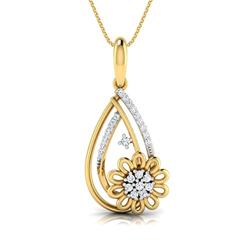 14 K Or blanc 0,15 CT TW Round-cut-diamond (IJ | SI) Pendentif