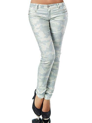 Diva-Jeans - Jeans - Skinny - Uni - Femme Camouflage-hellgrn