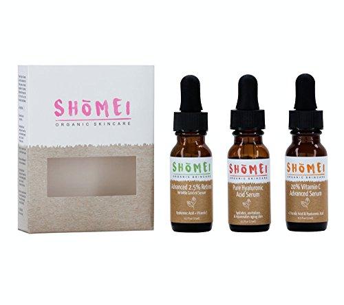 Shomei Organic Skincare Anti-Aging Serum Trio Pack: Vitamin C Serum (.5 oz), Retinol Serum (.5 oz) & Hyaluronic Acid Serum (.5 oz) for Anti Wrinkle and Dark Circle Remover
