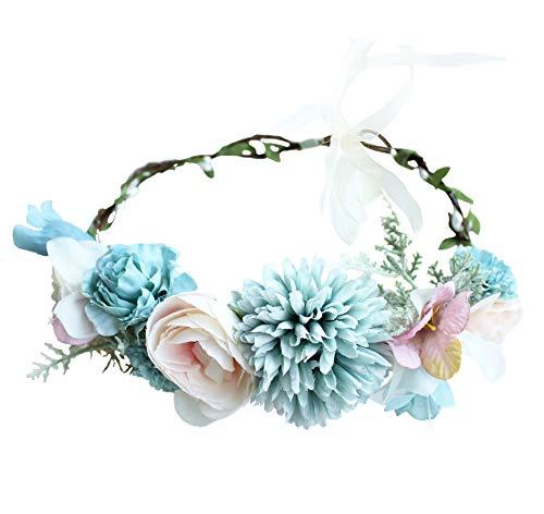 - Vivivalue Boho Flower Headband Women Floral Crown Hair Wreath Flower Headpiece Halo with Ribbon Wedding Party Festival Photos Blue