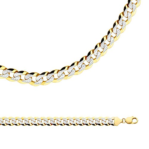 Solid 14k Yellow & White Gold Chain Cuban Necklace Pave Curb Links Big Heavy Two Tone, 12.2 mm - 24 inch - Gold Heavy Cuban Pave Chain