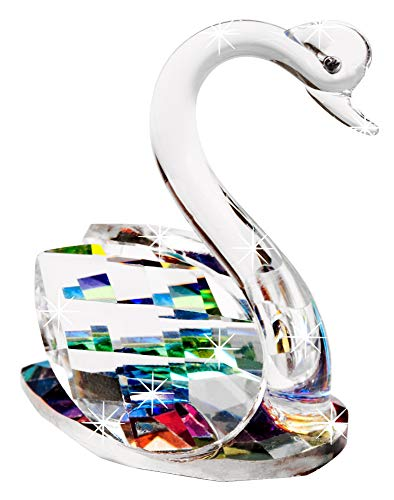 Crystal Swan - Sparkling Figurine, Freestanding & Beautifully Faceted Art Glass with Wings in an Aurora Borealis Rainbow of Color