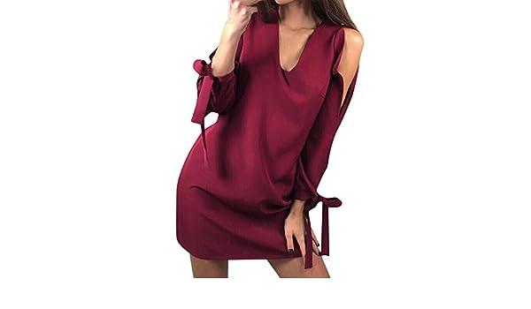 ❤ Vestido de Mujer Vendaje, Vestido Corto de Manga Larga con Cuello en V Manga Larga Sexy Absolute: Amazon.es: Ropa y accesorios
