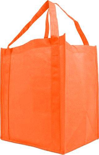 Reusable Reinforced Handle Grocery Tote Bag Large 10 Pack - Orange ()