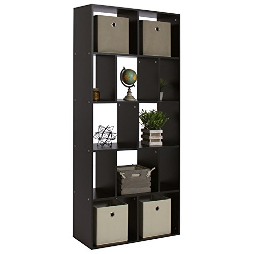 New Black Shelf Bookcase Home Office 12-Cube Organizer Storage (Yew Wood Furniture)