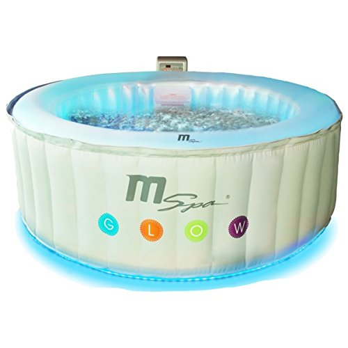 MSPA Latest Glow Indoor/Outdoor Round Luxury Inflatable Jacuzzi Hot Tub Spa, 4 Person with LED Lights