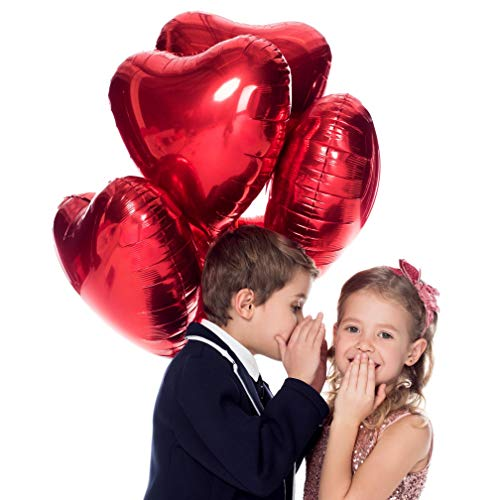 Valentines Day Red Heart Love Party Decorations in Foil Mylar Balloons for Bridal Shower Anniversary Wedding and Engagement Birthday (6 Pack)